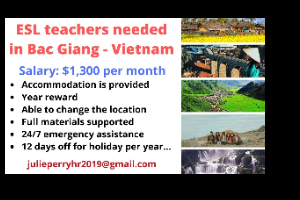 English Teacher Needed in Bac Ninh, Bac Giang and Hai Duong